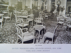 Tea Room, Hotel Pennsylvania, New York, NY, 1919, Lithograph. McKim, Mead, & White.