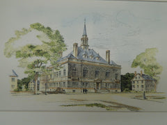 Design for City Hall, Concord, NH, 1902, Original Plan. Warren, Smith, & Biscoe.