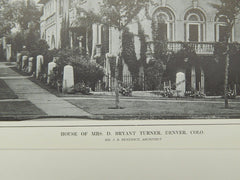 House of Mrs. D. Bryant Turner, Denver, CO, 1914, Lithograph. J.B. Benedict.