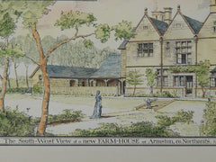 New Farm-House for the Duke of Buccleuch, Armston, England, 1884. J. Alfred Gotch. Original Plan