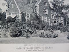 South Elevation From Garden, House of George Arents, Jr., Rye, NY, 1918, Lewis Colt Albro