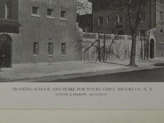Training School and Home for Young Girls, Brooklyn, NY, 1919, Lithograph. Ludlow & Peabody.