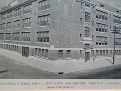 Oliver Wendell Holmes School, 55th & Chestnut St.,Philadelphia, PA,1919, Lithograph.