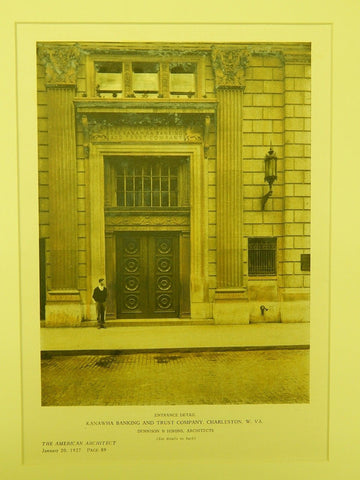 Entrance Detail, Kanawha Banking and Trust, Charleston, WV, 1927, Original Plan. Dennison & Hirons.