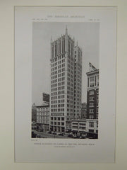 Office Building on Cadillac Square, Detroit, MI, 1919, Lithograph. Louis Kamper.