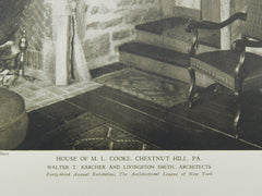 Interior, House of M. L. Cooke, Chestnut Hill, PA, 1928, Lithograph. Walter T. Karcher and Livingston Smith.
