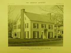 House of Burr N. Edwards, Esq., Chevy Chase MD, 1916. John M. Dunn. Lithograph