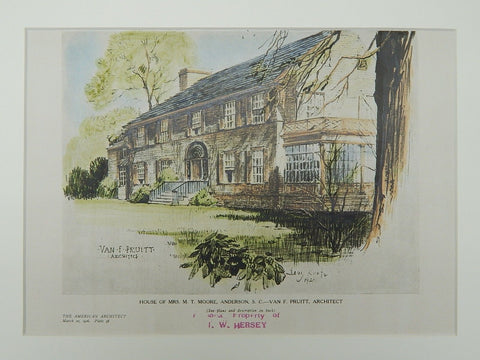 House of Mrs. M. T. Moore, Anderson, SC, 1926, Original Plan. Van F. Pruitt.