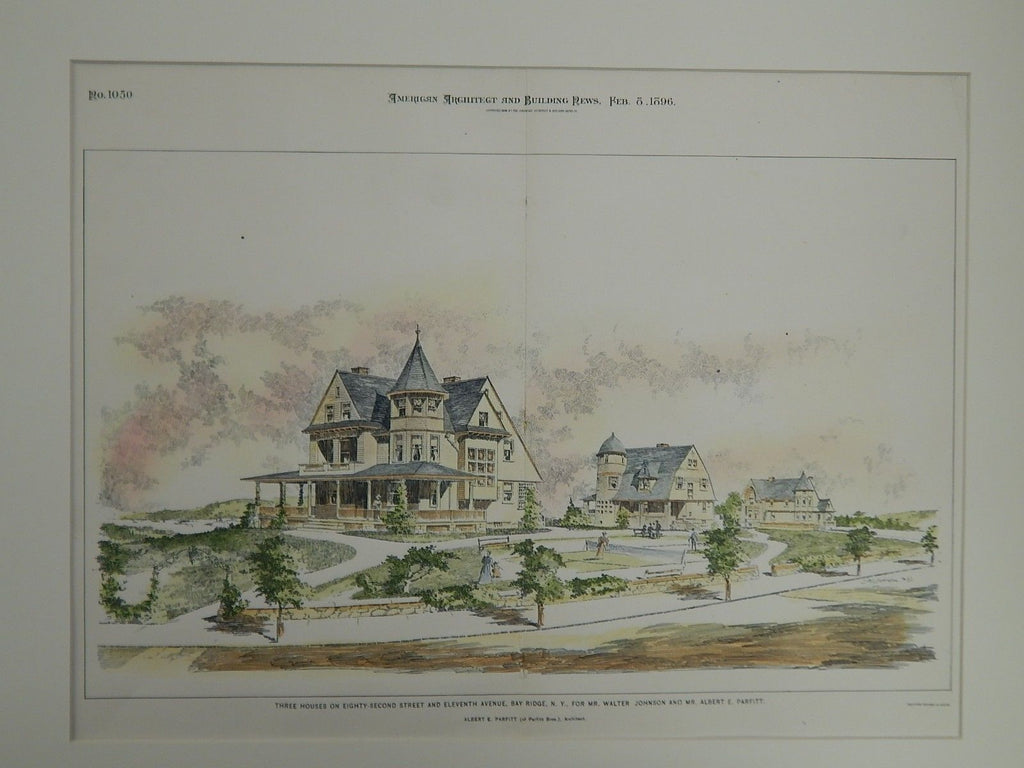 Three Houses for Mr. Walter Johnson & Mr. Albert E. Parfitt, Bay Ridge, NY,1896.