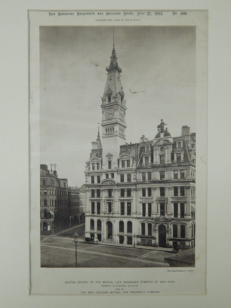 Mutual Life Insurance Company of New York, Boston, MA, 1885, Photogravure. Peabody & Stearns.