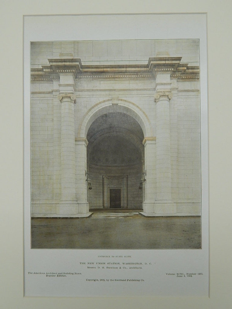 New Union Station, Entrance, Washington, D.C., 1908. Colored Photograph. D.H. Burnham & Co.