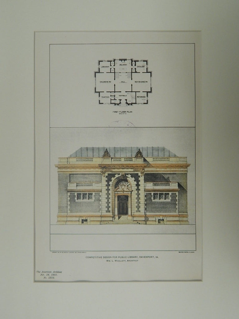 Competitive Design for Public Library, Davenport, IA, 1901, Original Plan. Wm. L. Woollett.