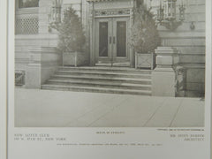 Detail of Entrance, New Lotus Club, New York, New York, 1909, Lithograph. Mr. Donn Barber.