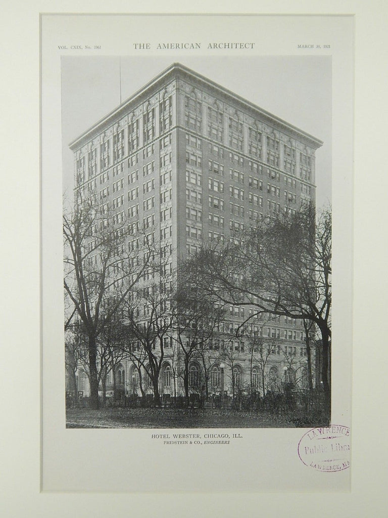 Hotel Webster, Chicago, IL, 1921, Lithograph. Fridstein & Co.