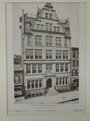 The Speyer School, Lawrence Street, New York, NY, 1906, Lithograph. Edgar A. Josselyn.