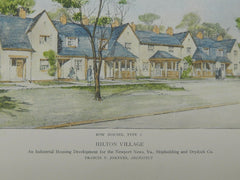 Row of Type 2 Houses, Hilton Village, Newport News, VA, 1918, Original Plan. Francis Y Joannes.