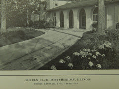 Entrance, Old Elm Club, Fort Sheridan, IL, 1914, Lithograph. Marshall & Fox.