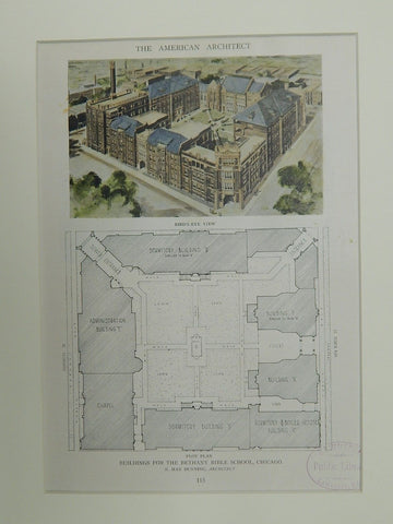 Bird's Eye & Plot of Bldgs. for Bethany Bible School, Chicago, IL,1921, OrigPlan. N. Max Dunning.