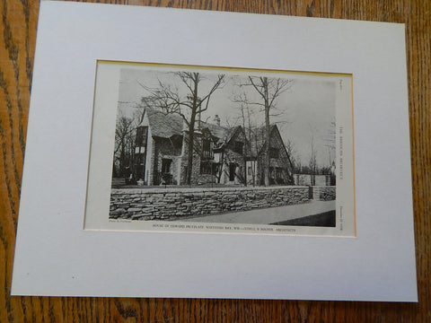 House of Edward Pritzlaff, Whitefish Bay,WI, 1928, Lithograph. Judell & Bogner.