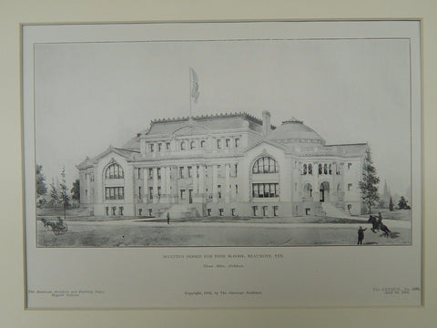 Accepted Design for High School, Beaumont, TX, 1905, Original Plan. Glenn Allen.