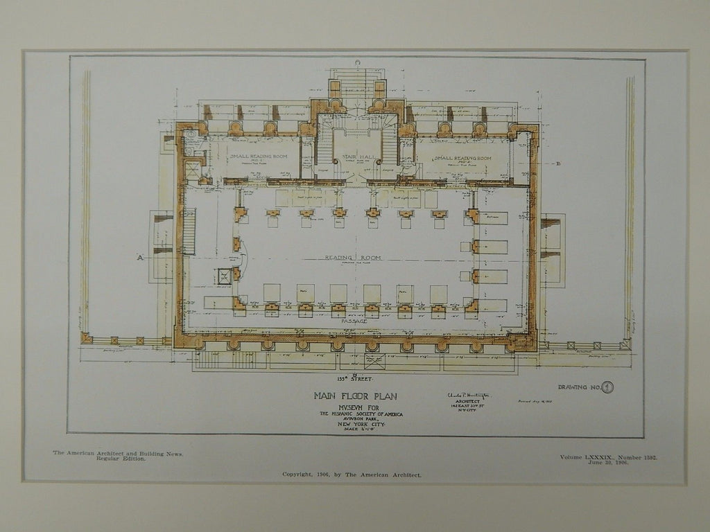 Main Floor, Hispanic Society of America Museum, New York, NY, 1906, Orig. Plan. Charles P. Huntington.