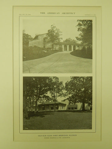 Alternative Views, Old Elm Club, Fort Sheridan, IL, 1914, Lithograph. Marshall & Fox.