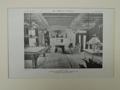 Billiard Room, House of Edward A. Clark, Marion, MA, 1919, Lithograph. Coolidge & Carlson.