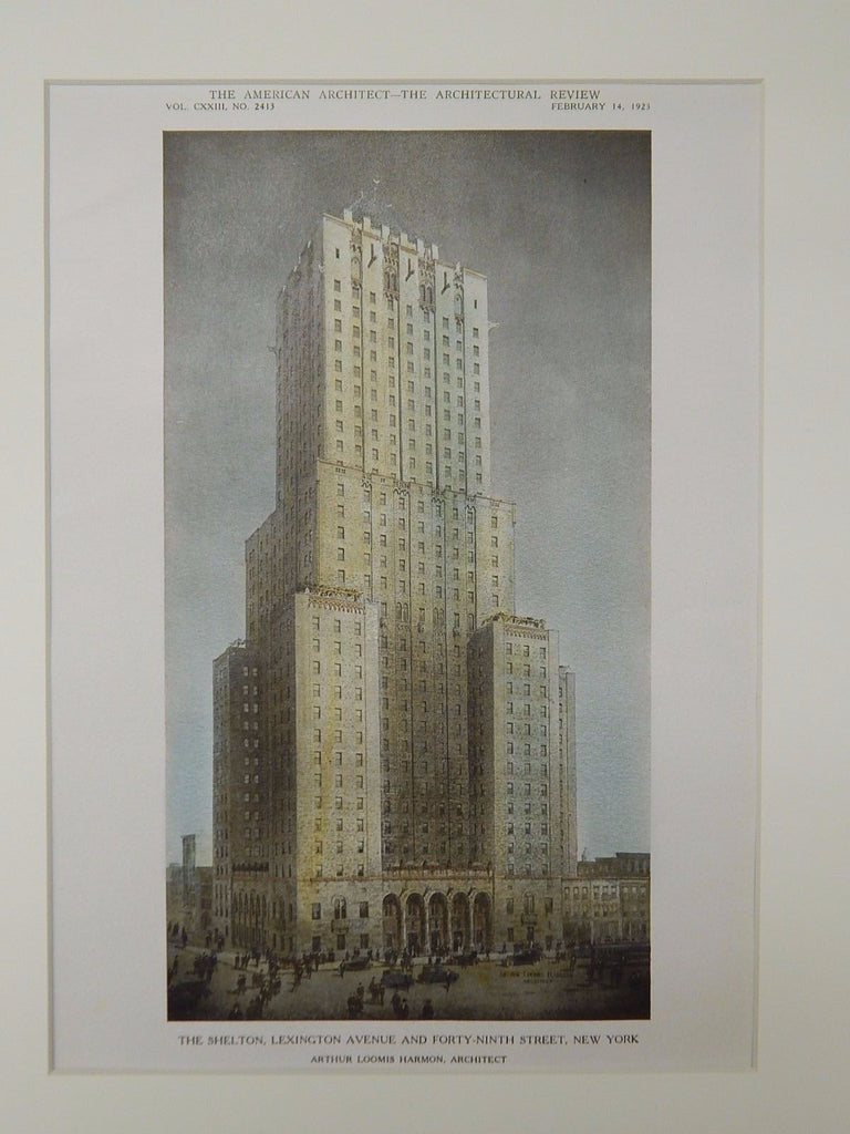 The Shelton, Lexington & Forty-Ninth, New York, NY, 1923, Original Plan. Arthur Loomis Harmon.
