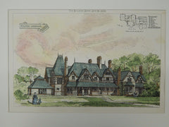 Hillside, Wargrave, Berkshire, UK, 1873, Original Plan. Cole A. Adams.