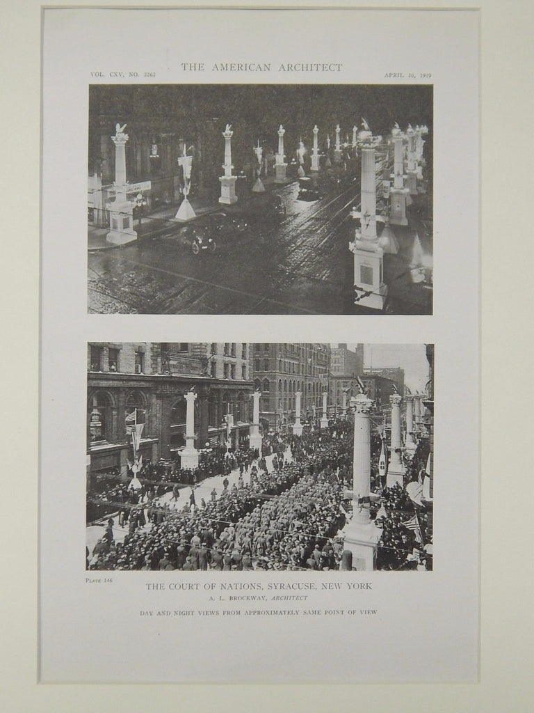 The Court of Nations, Syracuse, NY, 1919, Lithograph. A. L. Brockway.