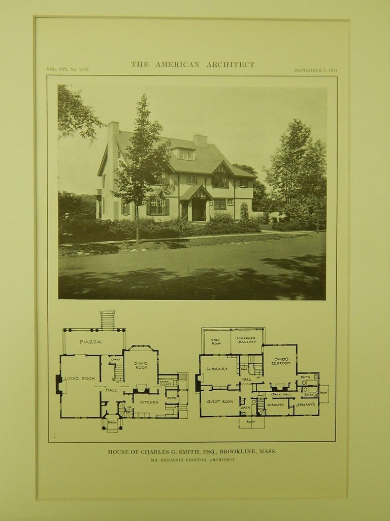 House of Charles G. Smith, Brookline, MA, 1914, Lithograph. Benjamin Proctor.