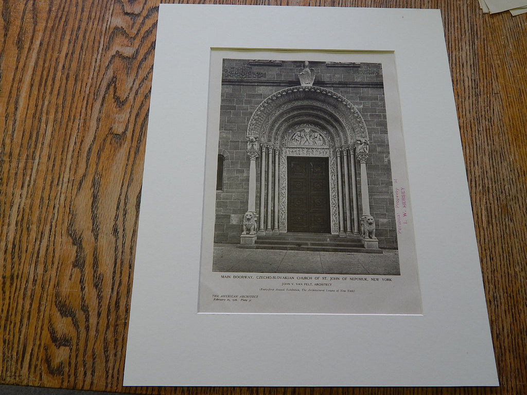 Czecho-Slovakian Church St. John of Nepomuk, New York,1926,Lithograph. John V. Van Pelt.