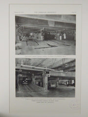 Wash Racks & Ramp, Fisher Building Garage, Detroit, MI, 1929, Lithograph. Albert Kahn.