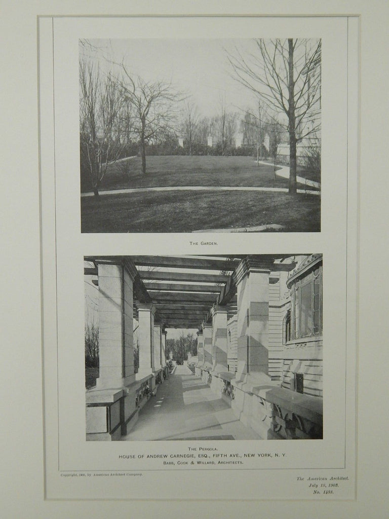Garden & Pergola, House of Andrew Carnegie, New York, NY, 1903, Lithograph. Babb, Cook & Willard.