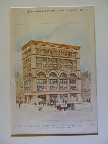 Building of the Bell Telephone Co. of Missouri, St. Louis, MO, 1889, Orig Plan.  Shepley, Rutan, & Coolidge.