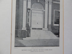 Beverly Farms Library, Entrance, Beverly Farms, MA, Lithograph,1918. Loring & Leland