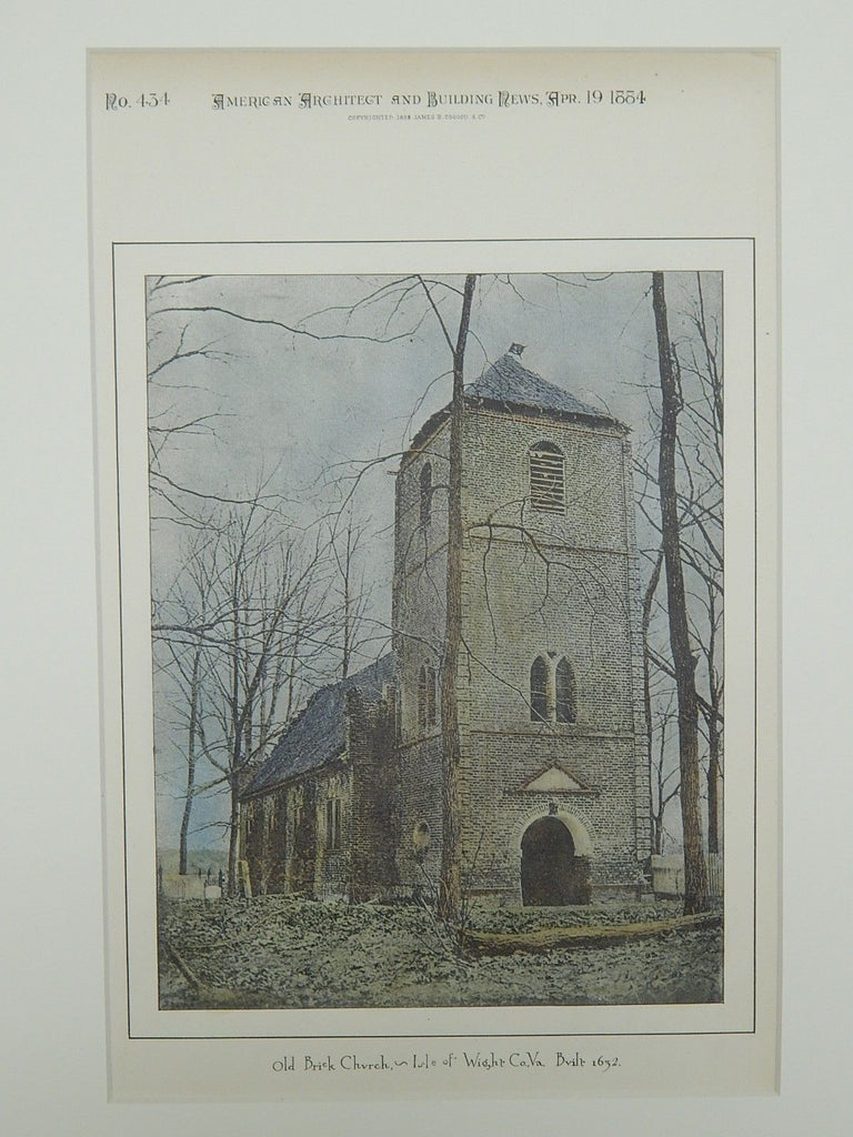 Old Brick Church (built 1632), Isle of Wight County, VA, 1884, Photogravure.