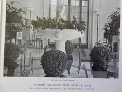 Detroit Athletic Club: Palm Room, Detroit, MI, Lithograph,1915. Kahn & Wilby.