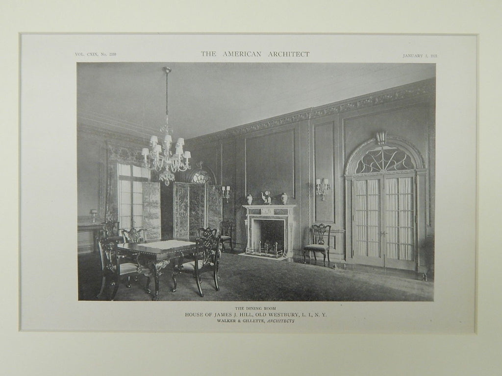 Dining Room, House of James J. Hill, Old Westbury, NY, 1921, Lithograph. Walker & Gillette.