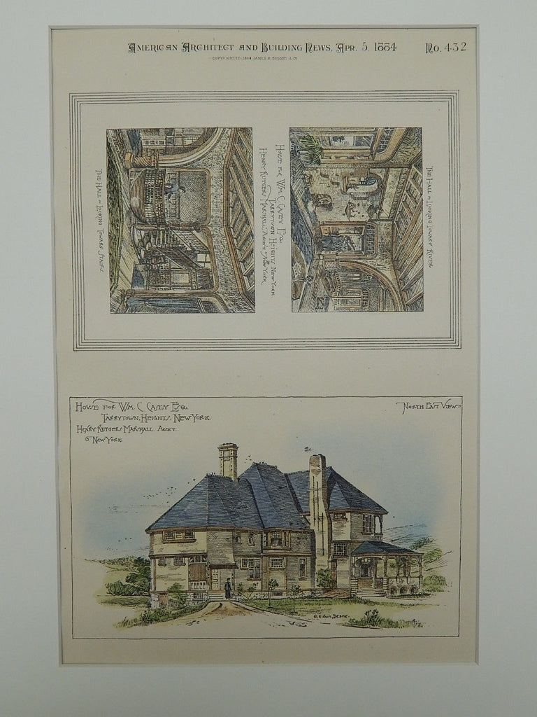 House for Wm. C. Casey, Esq., Tarrytown Heights, NY, 1884, Original Plan. Henry Rutgers Marshall.