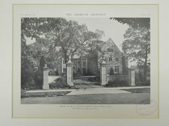 House of Mr. B. Austin Cheney, New Haven, CT, 1921, Photogravure. Rossiter & Muller.