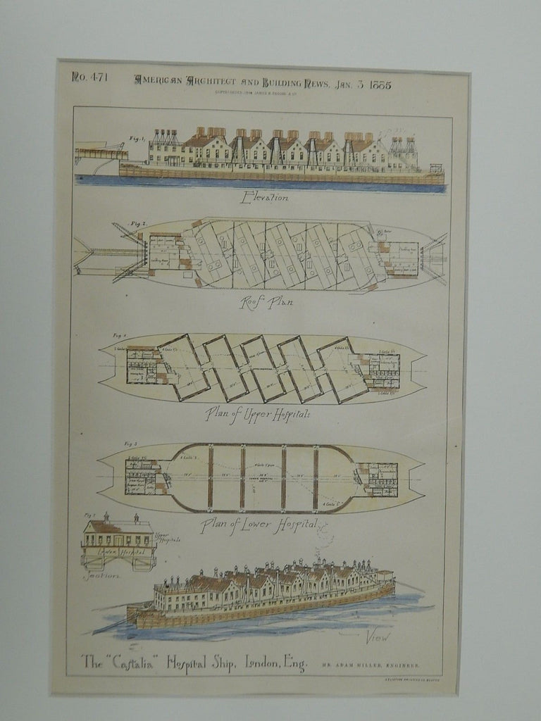 "The ""Castalia"" Hospital Ship, London, England, UK, 1885. Original Plan.  Mr. Adam Miller."