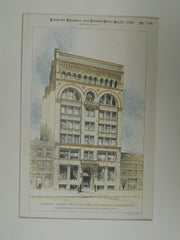 Accepted Design for J.J. Vandergrift Building, Pittsburgh, PA, 1890, Original Plan. Longfellow, Alden, & harlow.