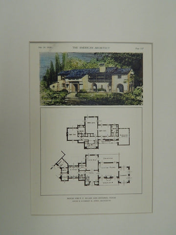 House for P.F. Allan, San Antonio, TX, Original Plan. A.B. & R.M. Ayres.