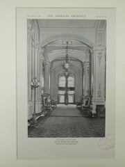 The Lobby looking East, Hotel Webster, Chicago, IL, 1921, Lithograph. Fridstein & Co.