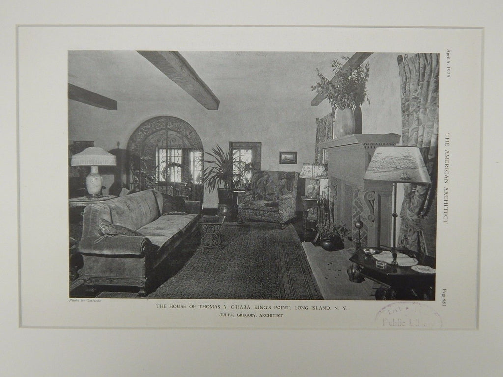 Den, Thomas A. O'Hara House, King's Point, Long Island, NY, 1929, Lithograph. Julius Gregory.