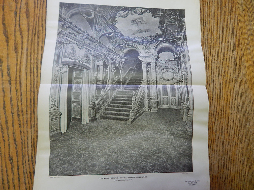 Staircase In Foyer: Colonial Theatre,Boston, MA, 1901,Lithograph. Blackall.