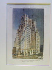 American Bank and Trust Company Building, Richmond, VA, 1929, Original Plan. Marcellus F. Wright.