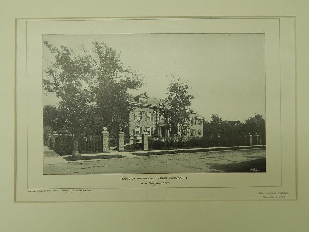 House on Woodlawn Avenue, Chicago, IL, 1902, Lithograph. W. A. Otis.