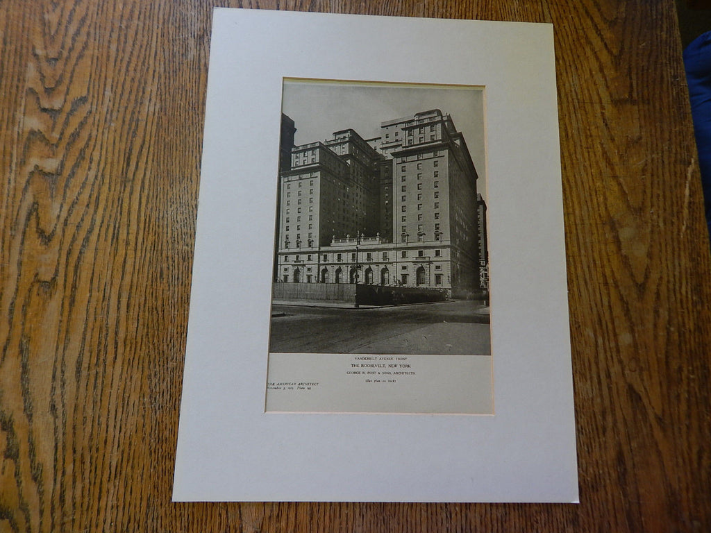 The Roosevelt, Front, Vanderbilt Avenue, NY, Lithograph,1924. George B. Post & Sons.